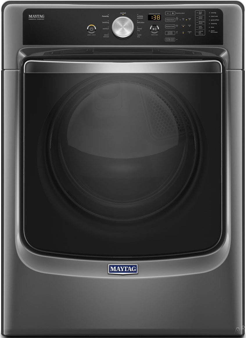 Maytag MGD5500F 27 Inch 7.4 cu. ft. Gas Dryer with 9 Dry Cycles, PowerDry System, Advanced Moisture Sensing, Steam Refresh, Rapid Dry, Sanitize Cycle and ADA Compliant