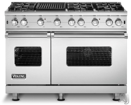 "Viking Professional Custom Series VGCC5486GSS 48"" Pro-Style Gas Range with 6 VSH Pro Sealed Burners w/ VariSimmers, 4.0 cu. ft. ProFlow Convection Oven, 2.1 cu. ft. Bake Oven and 12"" Griddle/Simmer (Not Exact Image): Stainless Steel"