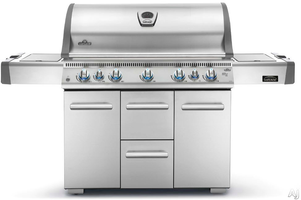 """Napoleon LEX Series LEX730RSBIXSS 75.25"""" Freestanding Gas Grill with 730 sq. in. Primary Cooking Surface, 16,000-BTU Bottom and Rear Ceramic Infrared Burners, Side Burner, Ice/Marinade Bucket, Cutting Board and JetFire Ignition"""