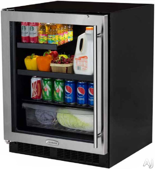 Marvel MA24BRG3LS 24 Inch Built-in Beverage Center with 2 Cantilevered Glass Shelves, 1 MaxStore Crisper, Dual-Level White LED Lighting, Security Door Lock, Black Maple Shelf Fronts, ADA Compliant and Energy Star Rated: Left Hinge Door Swing