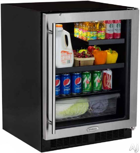 Marvel MA24BRG3RS 24 Inch Built-in Beverage Center with 2 Cantilevered Glass Shelves, 1 MaxStore Crisper, Dual-Level White LED Lighting, Security Door Lock, Black Maple Shelf Fronts, ADA Compliant and Energy Star Rated: Right Hinge Door Swing