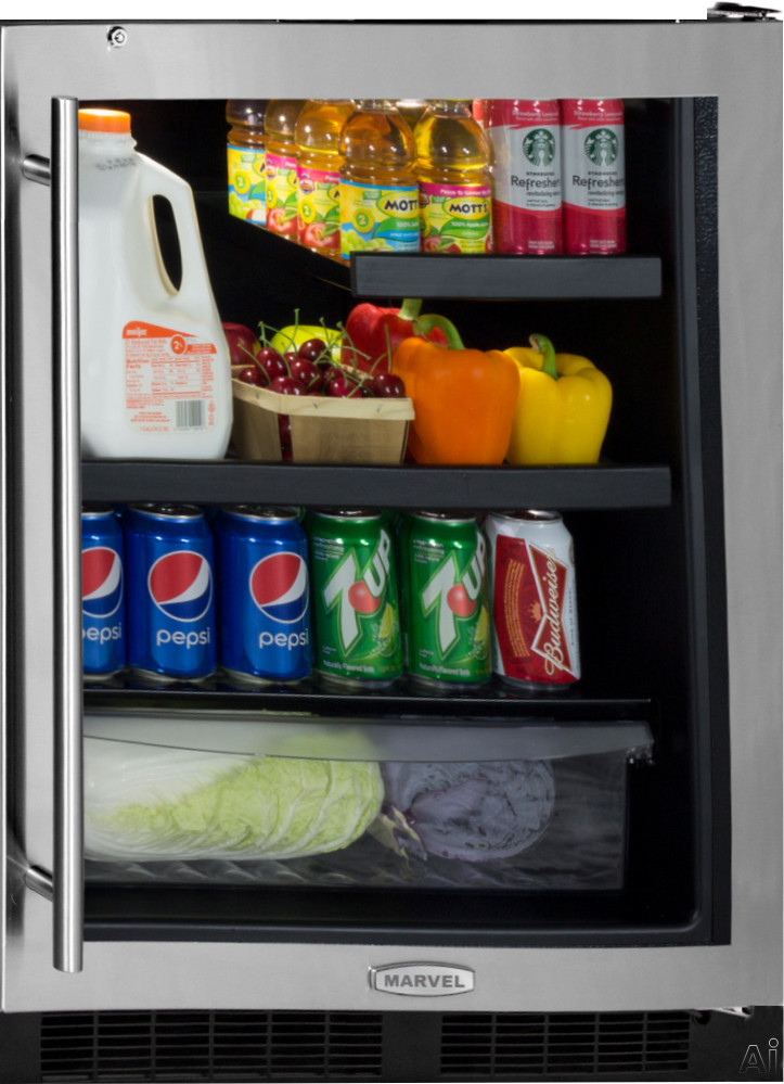 Marvel MA24BRG3 24 Inch Built-in Beverage Center with 2 Cantilevered Glass Shelves, 1 MaxStore Crisper, Dual-Level White LED Lighting, Security Door Lock, Black Maple Shelf Fronts, ADA Compliant and Energy Star Rated
