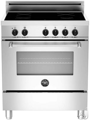 "Bertazzoni Master Series MAS304INMXE 30"" Freestanding Electric Range with 4 Induction Burners, European Convection Cooking, Glass Door, Stainless Steel Backguard, Storage Drawer and Flush Installation: Stainless Steel, Manual Clean, Standard Racks"