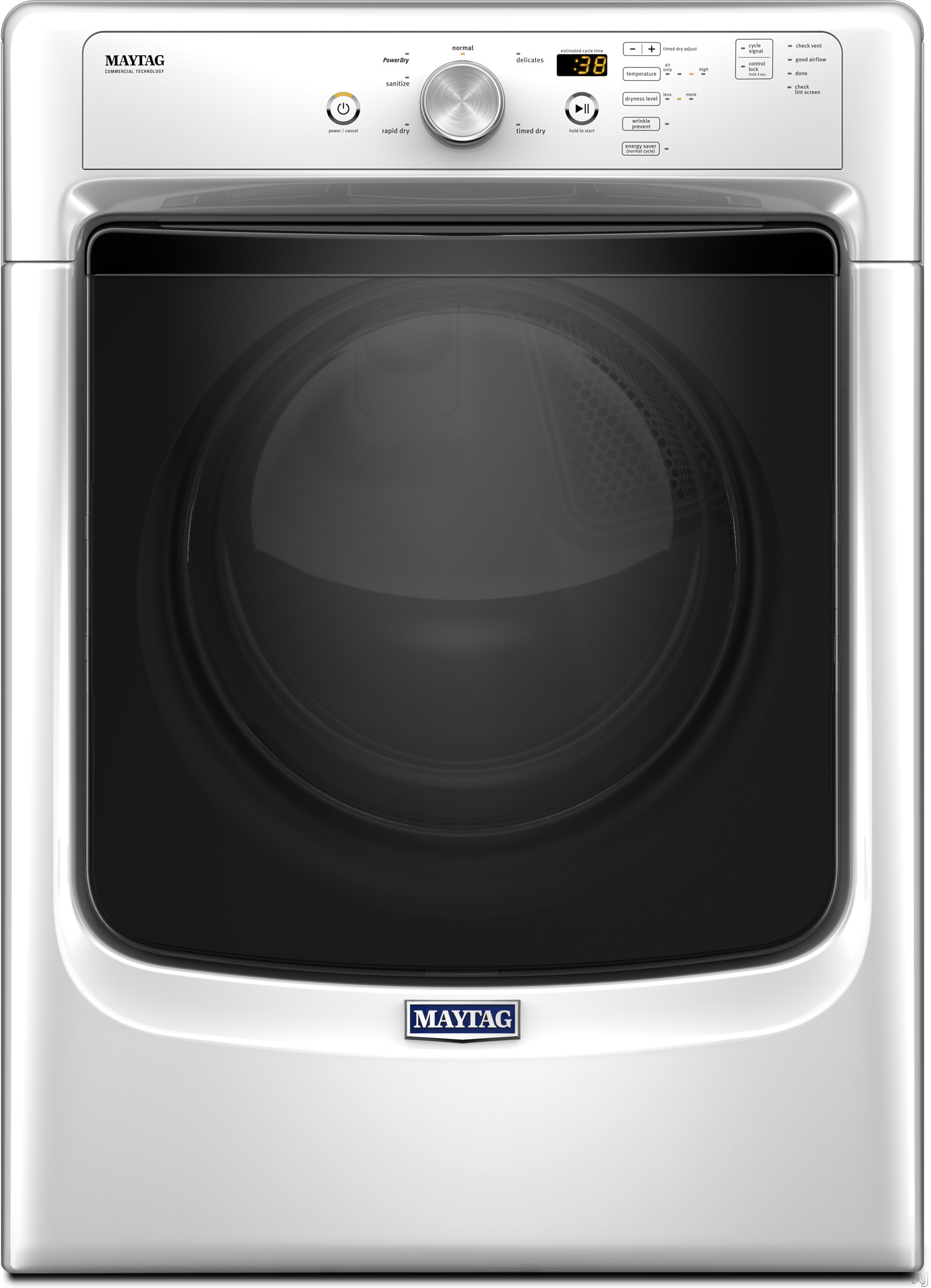 Image of Maytag MGD3500FW 27 Inch 7.4 cu. ft. Gas Dryer with PowerDry System, Wrinkle Prevent Option, Sanitize Cycle, Rapid Dry Cycle, Extra Interior Fin, 7.4 cu. ft. Capacity, 6 Dry Cycles and 4 Temperature Selections