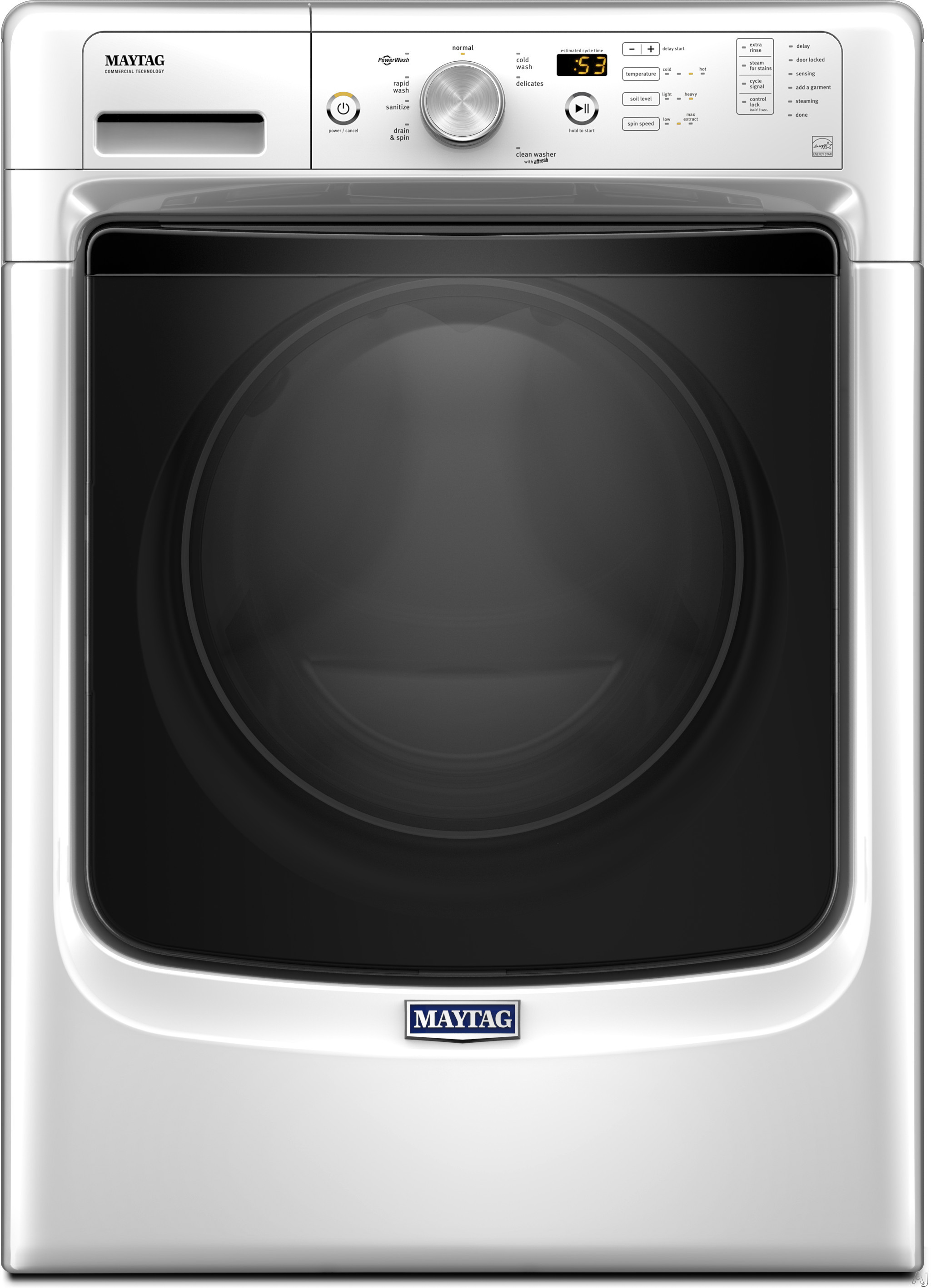 Maytag MHW3505FW 27 Inch 4.3 cu. ft. Front Load Washer with Steam, PowerWash®, Rapid Wash, Sanitize Cycle, 8 Wash Cycles, 4.3 cu. ft. Capacity, 1,200 RPM and Energy Star Rated MHW3505FW