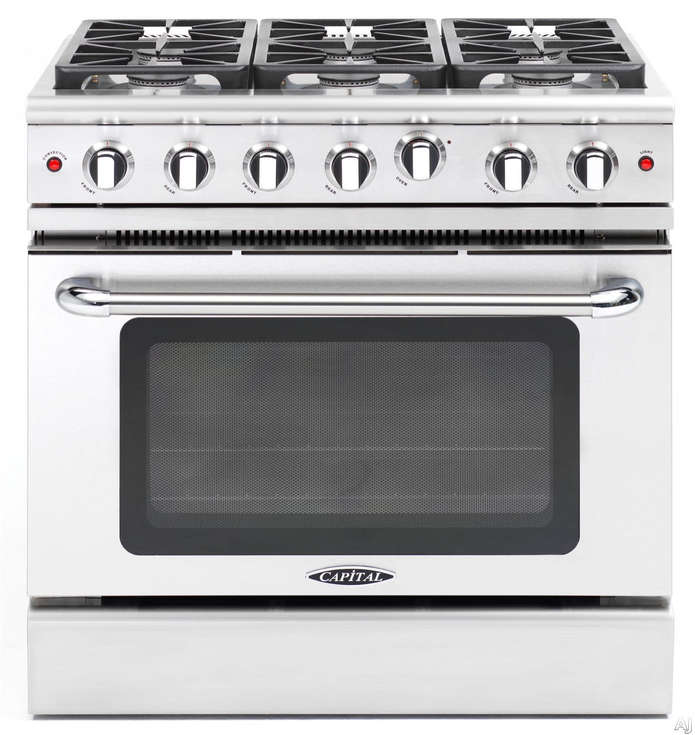 Capital Precision Series MCR366 36 Inch Pro-Style Gas Range with 6 Sealed Burners, Convection Oven, Infrared Broil Burner, Interior Oven Light, Continuous Grates and 4.9 cu. ft. Oven