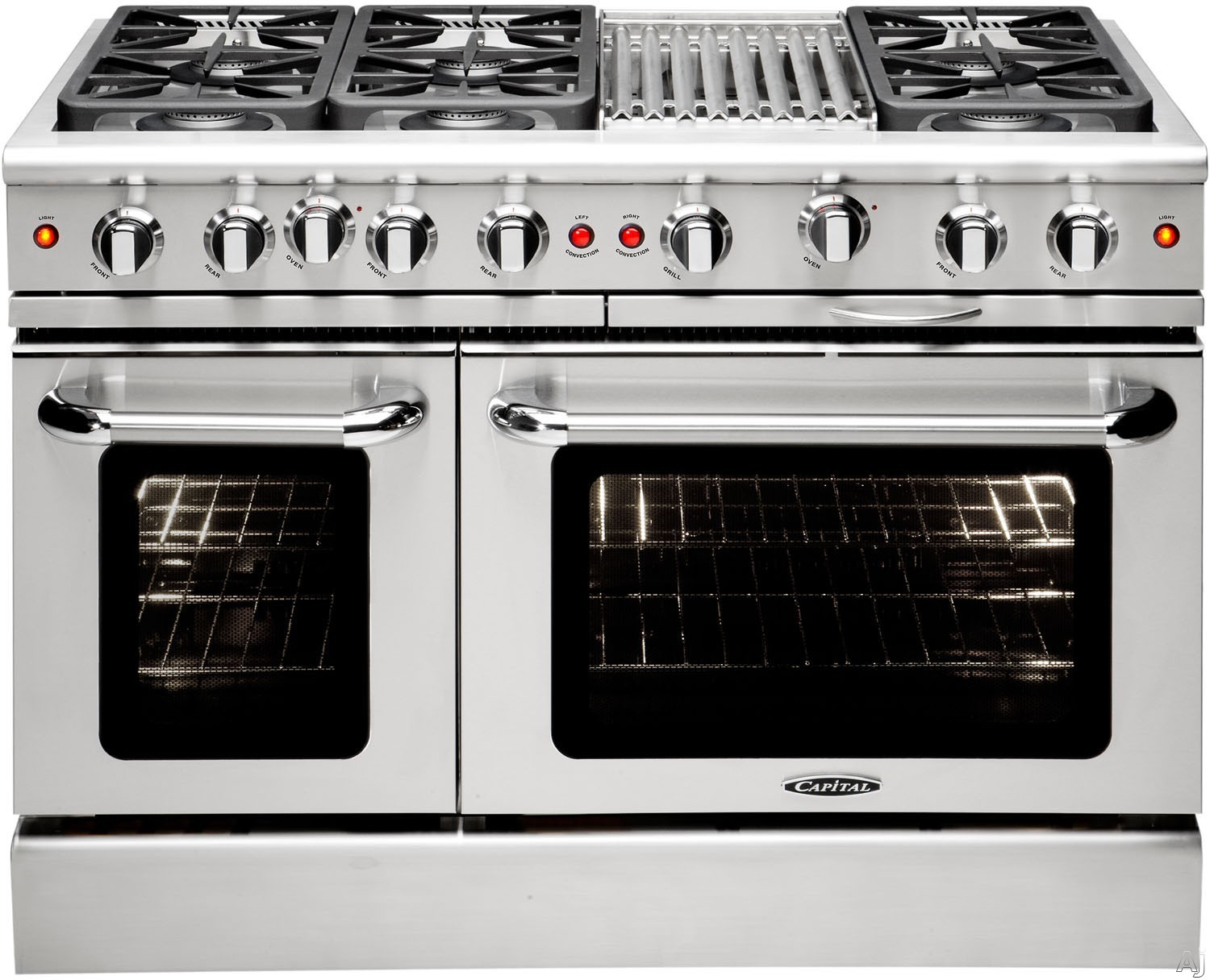 Capital Precision Series MCR486BL 48 Inch Freestanding Gas Range with 6 Sealed Burners, 19,000 BTU, 4.9 cu. ft. Oven, 30,000 BTU Oven Bake, Hybrid Radiant BBQ Grill, Interior Oven Light and Continuous