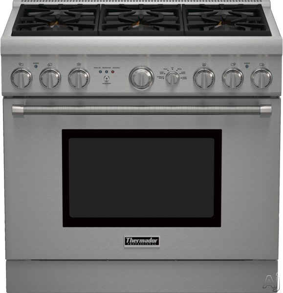 Thermador Pro Harmony Professional Series PRD366GHU 36 Inch Pro-Style Dual Fuel Range with Convection, ExtraLow Simmer Burners, Self-Cleaning, Telescopic Racks, 6 Sealed Star Burners and 4.8 cu. ft. O