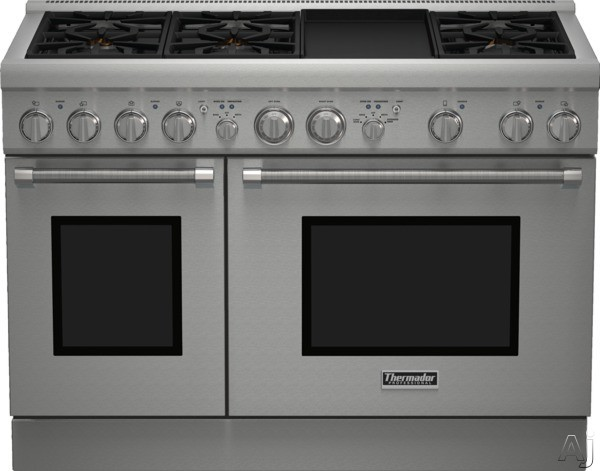 Thermador Pro Harmony Professional Series PRL486GDH 48 Inch Pro-Style Gas Range with 6 Sealed Star Burners, 4.4 cu. ft. Convection Oven, 2.3 cu. ft. Conventional Oven, Electric Griddle, ExtraLow Simmer Burners, Telescopic Racks and Manual Clean: Liquid P