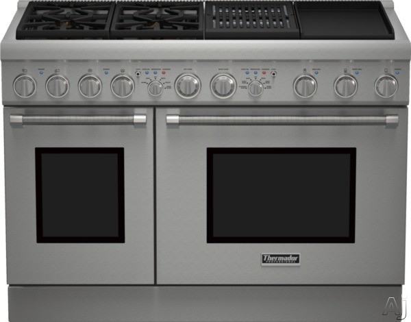 Thermador Pro Harmony Professional Series PRD484NCHU 48 Inch Pro-Style Dual Fuel Range with 4 Sealed Star Burners, 6.5 Total cu. ft. Convection Ovens, Electric Grill, Griddle, ExtraLow Simmer Burners,