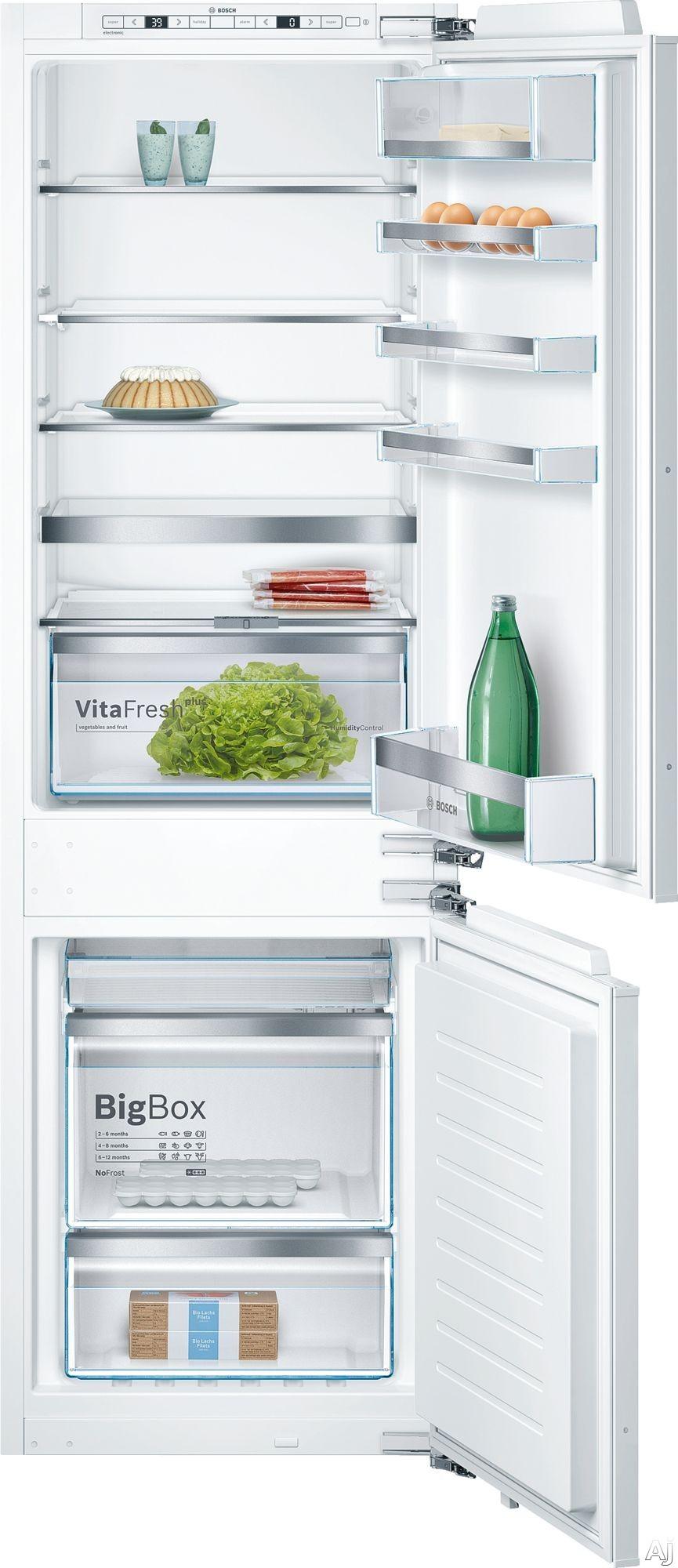 Bosch 800 Series B09IB81NSP 24 Inch Built-In Panel Ready Refrigerator with WiFi Home Connect, BigBox Freezer Drawer, Supercooling, SuperFreezing, VitaFresh® Pro Drawer, VarioShelf, Frost Free, Holi