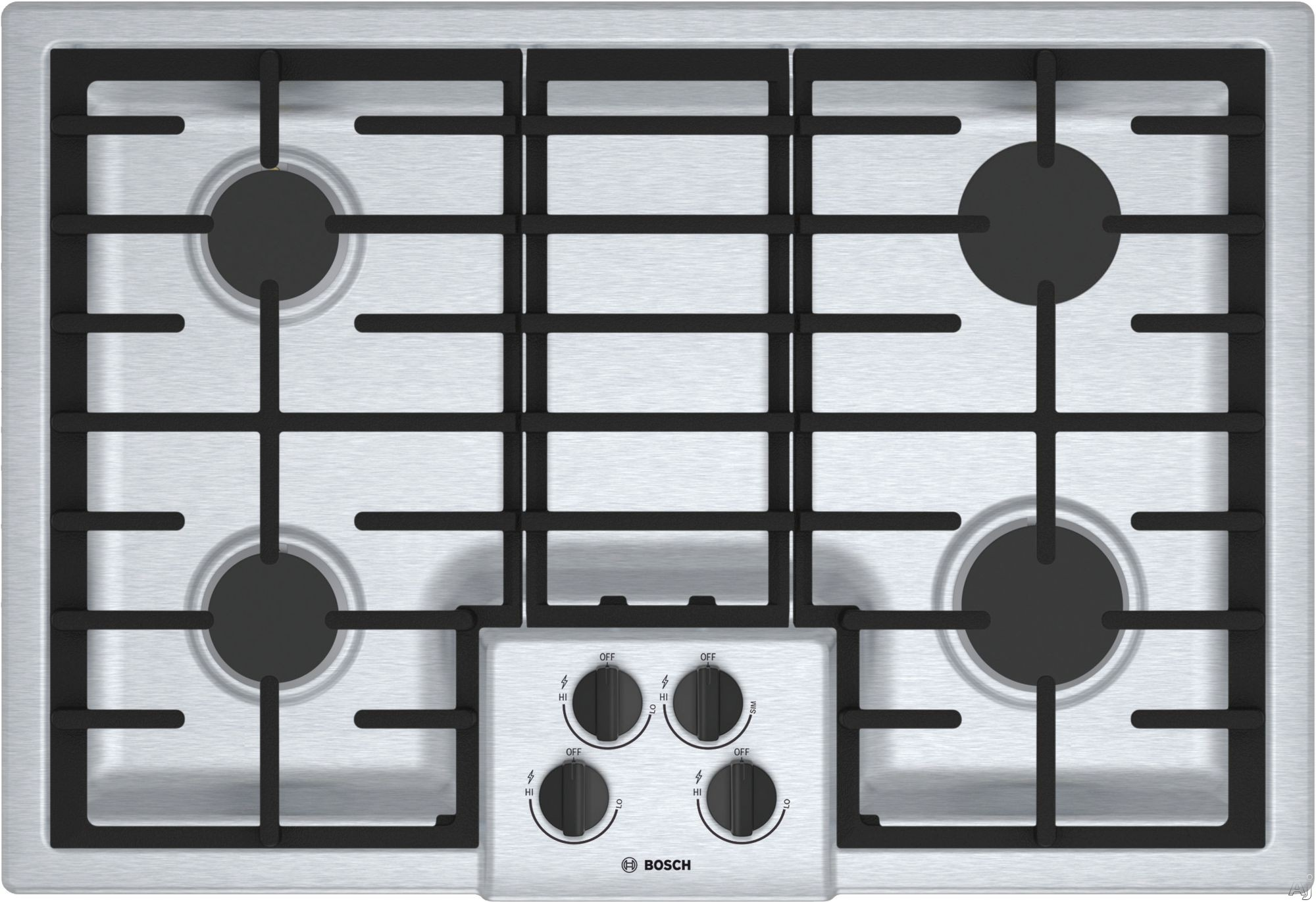 Bosch 500 Series NGM5056UC 30 Inch Gas Cooktop with Sealed Burners, OptiSim® Burner, Cast-Iron Continuous Grates, LED Indicator Lights, Electronic Re-ignition and STAR-K Sabbath Mode