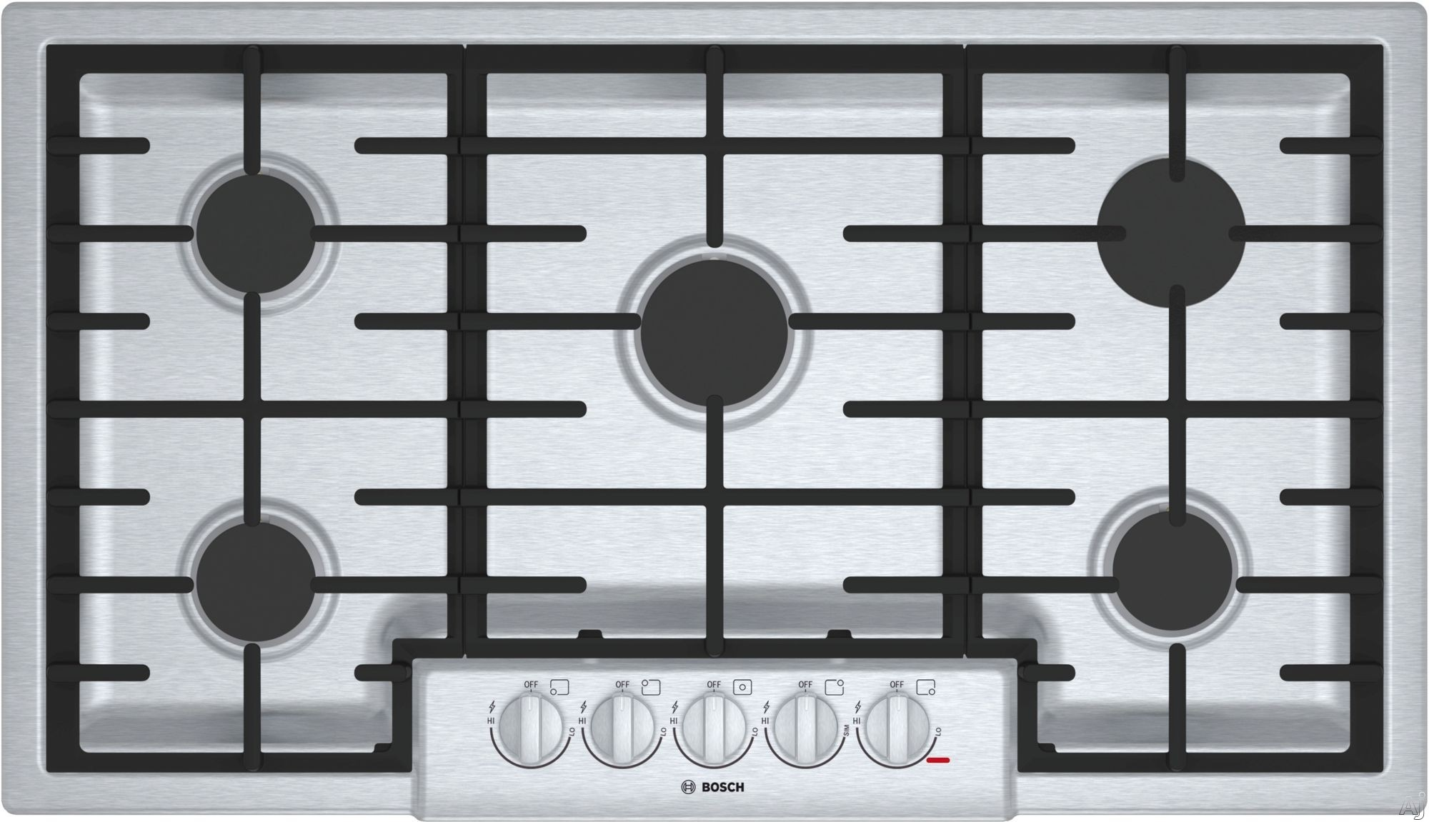Bosch 800 Series NGM8656UC 36 Inch Gas Cooktop with Sealed Burners, OptiSim® Burner, Cast-Iron Continuous Grates, LED Indicator Lights, Electronic Re-ignition and