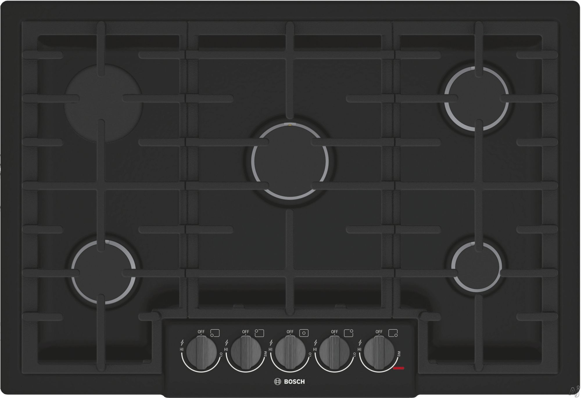 Bosch 800 Series NGM8046UC 30 Inch Gas Cooktop with OptiSim® Burner, Black Stainless Knobs, Red LED Indicator Lights, Electronic Re-Ignition, 5 Sealed Burners and STAR-K Certified