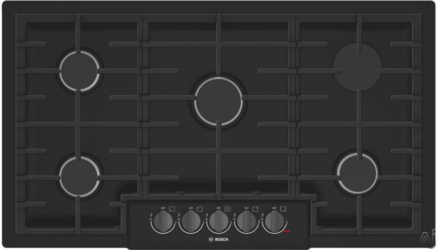 Bosch 800 Series NGM8646UC 36 Inch Gas Cooktop with Sealed Burners, OptiSim® Burner, Cast-Iron Continuous Grates, LED Indicator Lights, Electronic Re-ignition and STAR-K Sabbath Mode