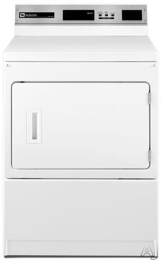 Maytag Commercial Laundry MDE17PRAYW 27 Inch 74 cu ft Commercial Electric Dryer with 3 Dry Cycles 3 Temperature Selections Advanced Computer Trac Controls Large Capacity Lint Filter and Card Ready Payment