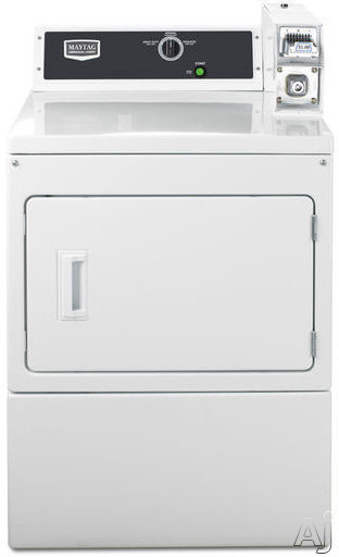 Maytag Commercial Laundry MDE18CSAYW 27 Inch 74 cu ft Commercial Electric Dryer with 3 Dry Cycles Coin Slide Ready Payment Advanced Computer Trac Controls and Large Capacity Lint Filter