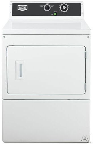 Maytag Commercial Laundry MDE18MNAYW 27 Inch Commercial Electric Dryer with 74 cu ft Capacity 3 Dry Cycles Reversible Swing Door Advanced Computer Trac Controls and Large Capacity Lint Filter