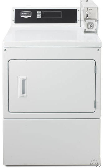 Maytag Commercial Laundry MDG18PDAWW 27 Inch 74 cu ft Commercial Gas Dryer with 3 Dry Cycles 230 CFM Advanced Computer Trac Controls and Large Capacity Metal Mesh Filter
