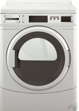 Maytag Commercial Laundry MDE25PDAYW 27 Inch 67 cu ft Commercial Electric Dryer with 3 Dry Cycles 3 Temperature Selections TurboVent Technology Advanced Computer Trac Control High Security Vault Reversible Door and Debit Card Compatibility