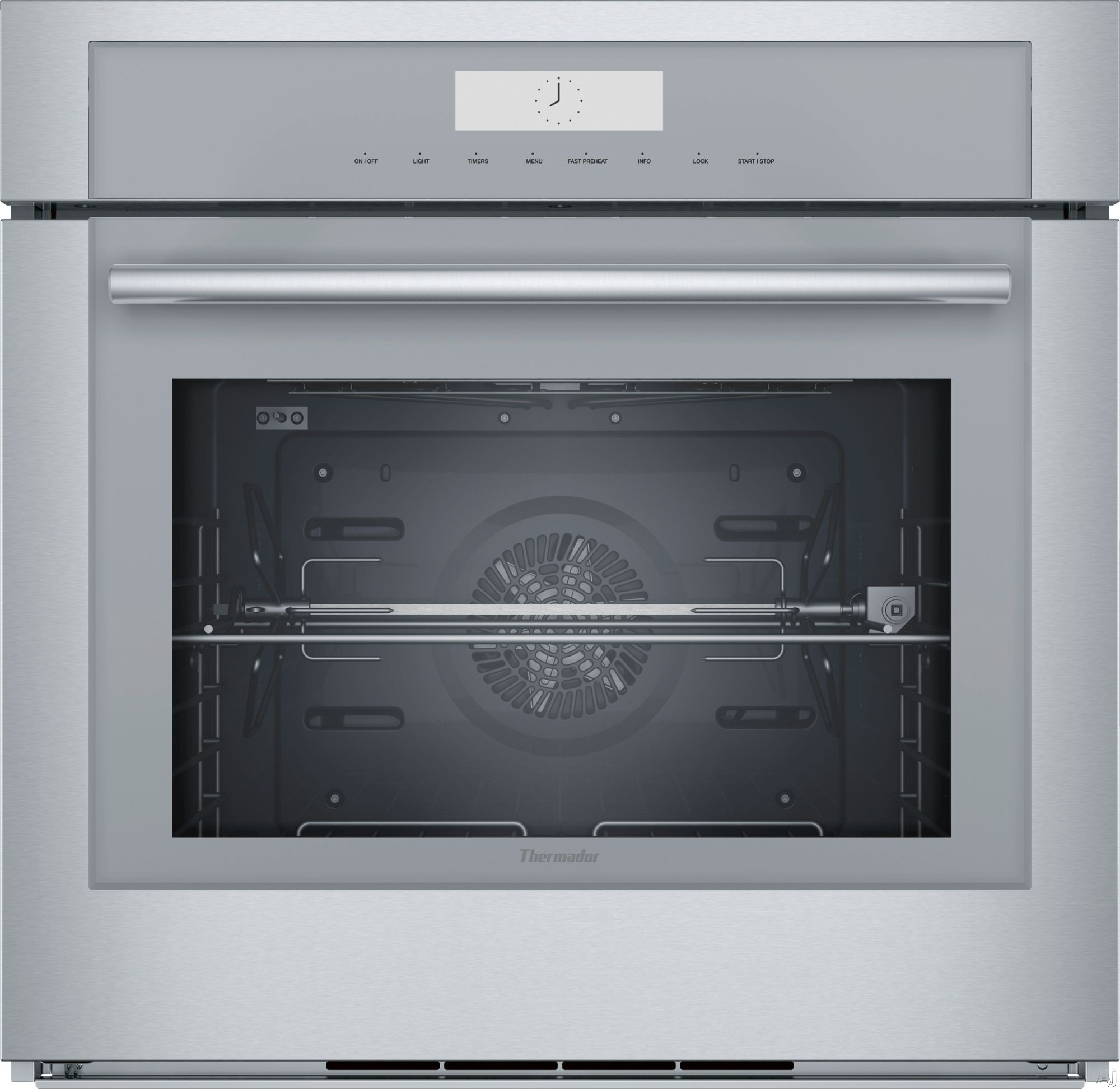 Thermador Masterpiece Series MED301WS 30 Inch Single Wall Oven with Self-Clean, Hydraulic SoftClose® Hinges, 16 Cooking Modes, Meat Probe, Rotisserie, Halogen Lights, Telescopic Racks, Wi-Fi and Sa