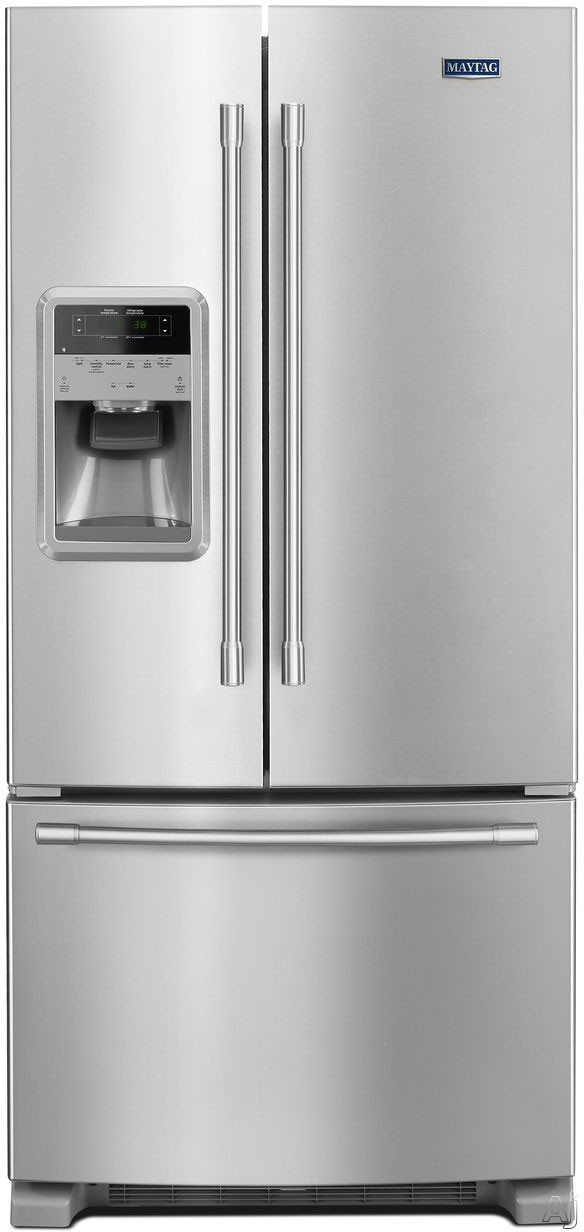 Maytag MFI2269FR 33 Inch French Door Refrigerator with PowerCold®, Beverage Chiller™, External Dispenser, Wide-N-Fresh™ Drawer, FreshLock™ Crispers, BrightSeries™ LED, 22 cu. ft. of Capacity and ADA Compliant