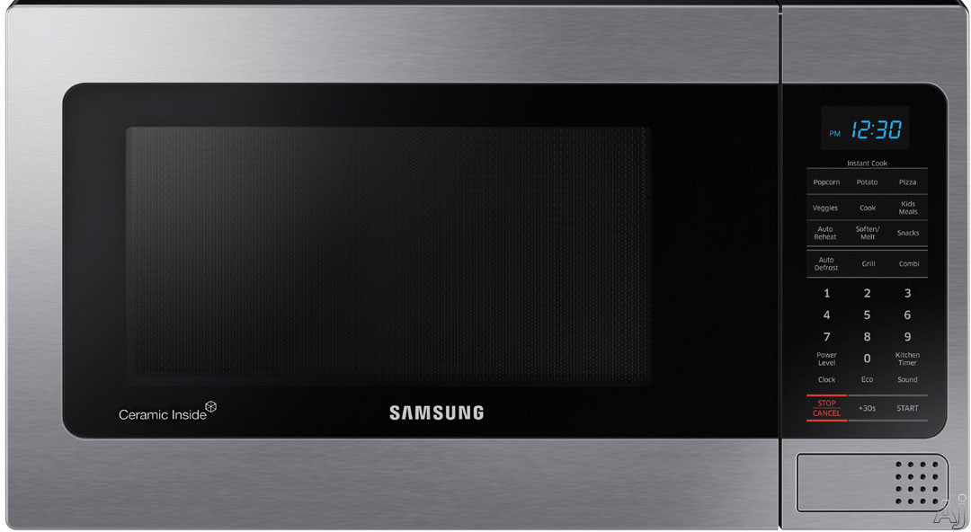 Samsung MG11H2020CT 1.1 cu. ft. Countertop Microwave Oven with 1,000 Watts, 10 Power Levels, Auto Cook Options, Grilling Element, Ceramic Plate, Ceramic Enamel Interior, Auto Defrost, Eco Mode, Triple Distribution System, Glass Turntable and Ceramic Ename