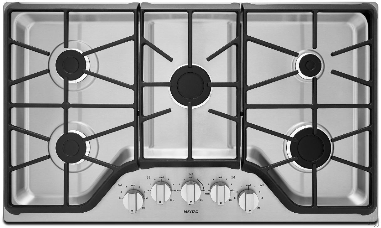 Maytag MGC7536D 36 Inch Gas Cooktop with 5 Sealed Burners, 5,000-BTU Simmer Burner, 15,000-BTU Power Burner, Front Control Knobs and Heavy-Duty DuraClean Continuous Cast-Iron Grates
