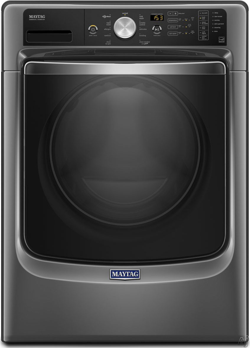 Maytag MHW5500F 27 Inch 4.5 cu. ft. Front Load Washer with PowerWash, Steam Sanitize, 10 Wash Cycles, 1,200 RPM ,Internal Heater, Stainless Steel Drum, ENERGY STAR Rated and ADA Compliant