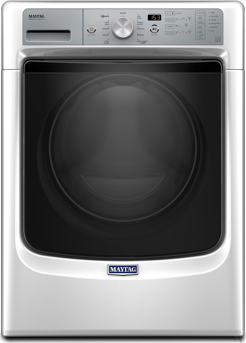 Maytag MHW5500FW 27 Inch 4.5 cu. ft. Front Load Washer with PowerWash, Steam Sanitize, 10 Wash Cycles, 1,200 RPM ,Internal Heater, Stainless Steel Drum, ENERGY STAR Rated and ADA Compliant: White MHW5500FW