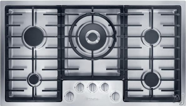 Miele KM2355G 36 Inch Gas Cooktop with 5 Sealed Burners, Dishwasher-safe ComfortClean Grates, Ignition Safety Control and Stainless Steel Finish: Natural Gas