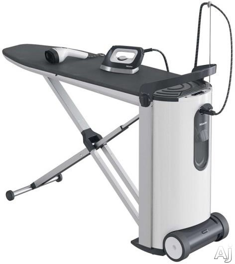 Image of Miele FashionMaster Series B3847 Ironing Center with 4.0 Bar Steam Pressure, Iron with Non-Stick Honeycomb Soleplate, Handheld Steamer Attachment, In-Board Fan with 2 Speeds, Ironing Table Cover, Infinite Height Adjustment, Auto-Off and Automatic Descalin