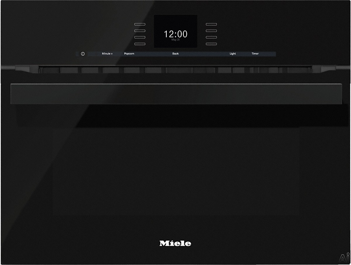 Miele PureLine SensorTronic Series H6600BMOBSW 24 Inch Single Electric Speed Oven with Convection Cooking, 2,200 Watt Microwave, SensorTronic Controls, MasterChef Programs, Temperature Probe, PerfectClean Finish and Silhouette Handle: Obsidian Black H660