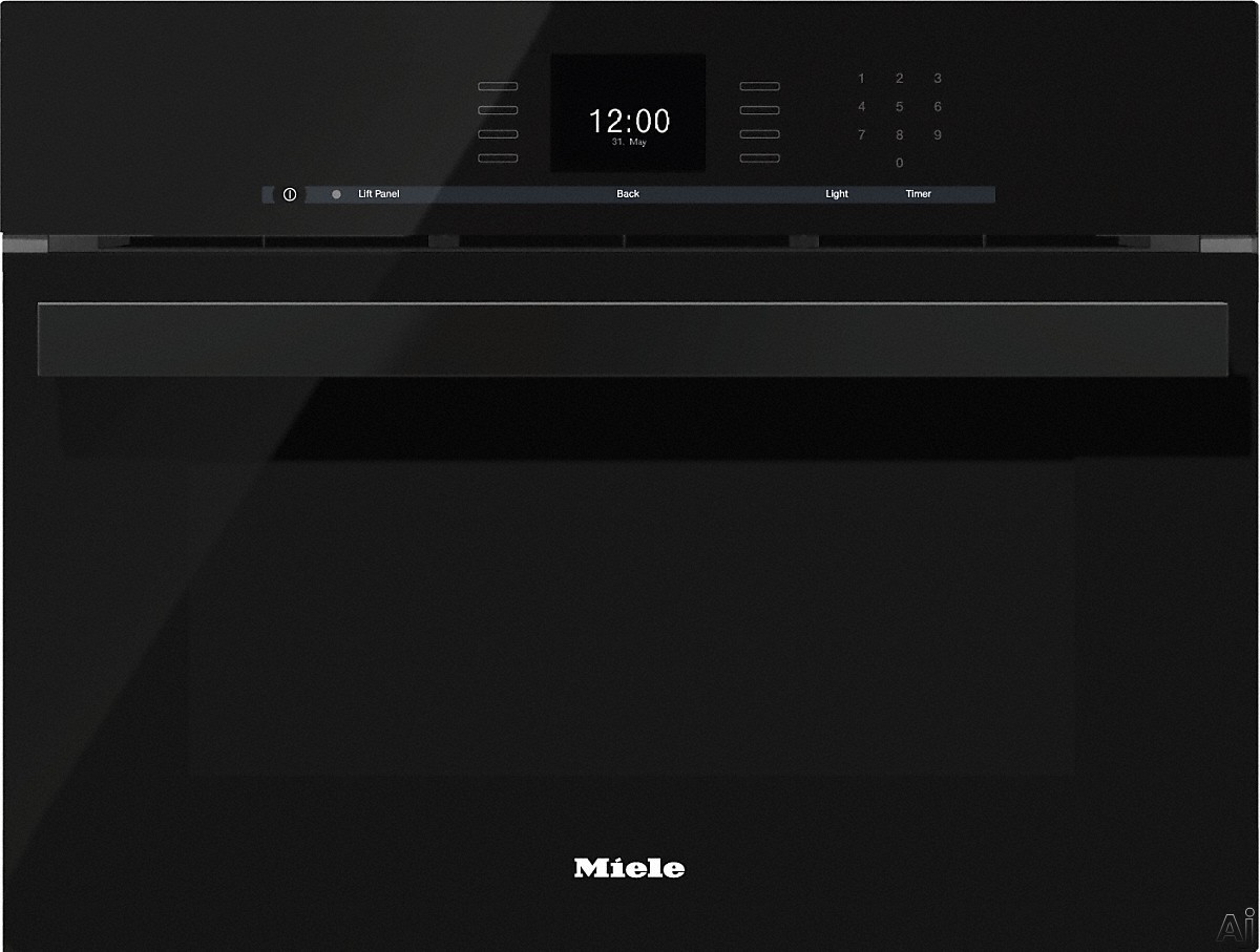 Miele PureLine SensorTronic Series DGC66001XLOBSW 24 Inch Single Electric Steam Oven with European Convection, MasterChef, MultiSteam, Temperature Probe, XL Cavity, PerfectClean Finish, SensorTronic Controls, Silhouette Handle and Sabbath Mode: Obsidian