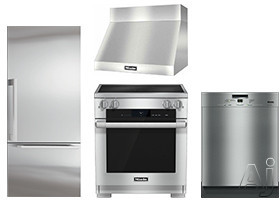 Image of Miele MasterCool Series MIKPRERADWRH66 4 Piece Kitchen Appliances Package with Bottom Freezer Refrigerator, Electric Range and Dishwasher in Stainless Steel