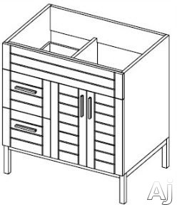 Empire Industries Metropolitan Collection MK3012WMPL 30 Inch Contemporary Vanity with Two Door Cabinet Storage, Two Drawers and Kira Sinktop Compatible: Polished Finish, Left Side Drawers
