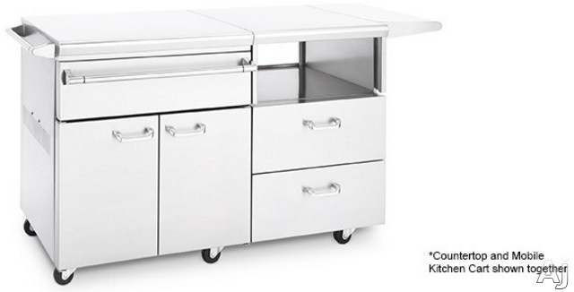"Lynx Professional Grill Series MKC54 54 Inch Mobile Kitchen Cart: Fits 30"" Asado Grills, 30"" Napoli Pizza Oven or LSERVE Flat Countertop - Shown with Counterop"