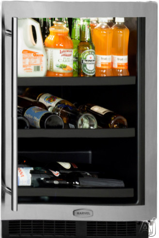 Marvel ML24BCG1 24 Inch Built-in Beverage Center with 2 Cantilevered Glass Shelves, Glide-Out Wine Cradle, Dual-Level LED, Marvel Intuit Temperature Controls, Star-K Certified Sabbath Mode, ENERGY STAR and Black Maple Shelf Fronts