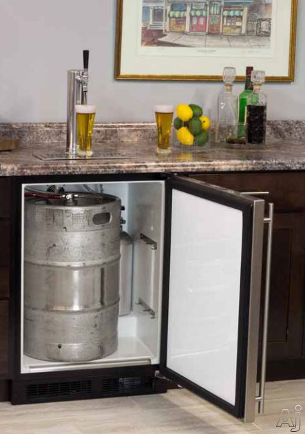 Marvel ML24BS 24 Inch Built-in Beer Dispenser with Single Tap, Half Barrel Keg Storage, 2 Metal Shelves for Refrigerator Conversion, CO2 Tank and Other Accessories Included