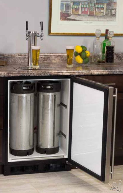 Marvel ML24BT 24 Inch Built-in Beer Dispenser with Double Tap, Half Barrel Keg Storage, 2 Metal Shelves for Refrigerator Conversion, CO2 Tank and Other Accessories Included