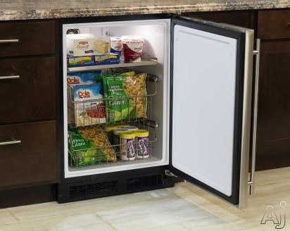 Marvel ML24FAS1LB 24 Inch Built-In/Freestanding All-Freezer with 1 Adjustable Shelf, 2 Roll-Out Stainless Steel Wire Baskets, Dynamic Cooling Technology, Arctic White Interior, White LED Theatre Display, Close Door Assist Hinge System and Frost Free: Blac