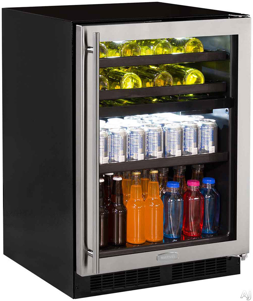 Marvel ML24WB 24 Inch Dual Zone Wine and Beverage Center with 5.1 cu. ft. Capacity, Full-Width Cantilevered Shelf with 505/50 Split Convertible Shelving, Vibration Neutralization System and UV-Resistant Glass Door