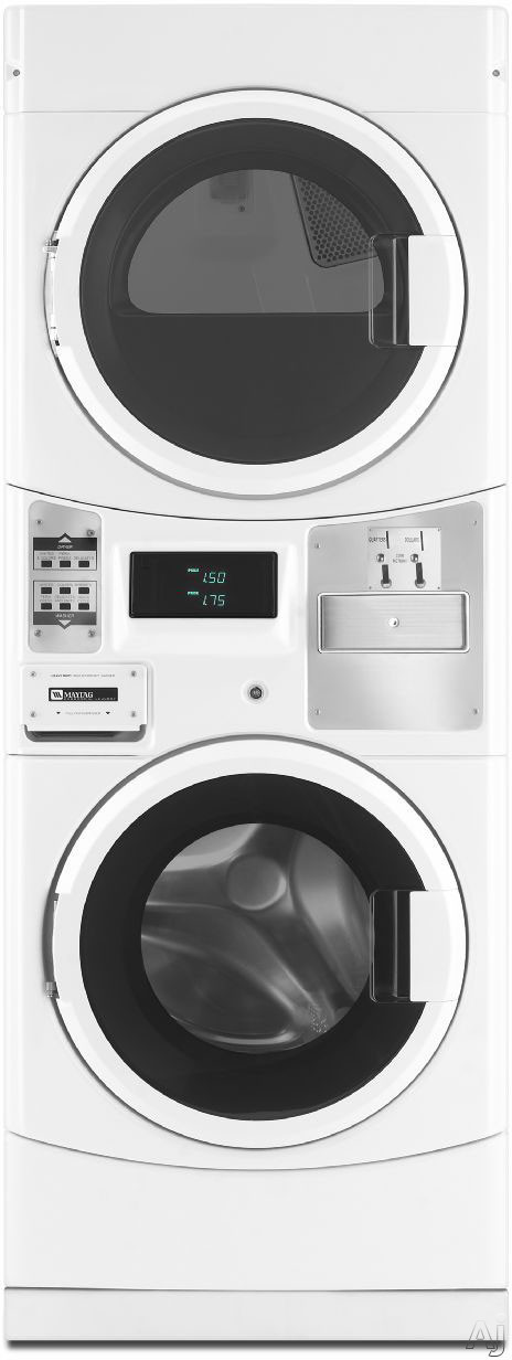 Picture of Maytag Commercial Laundry MLE20PDCYW 27 Inch Electric Laundry Center with 3.1 cu. ft. ENERGY STAR Washer, 6.7 cu. ft. TurboVent Dryer, Computer Trac Microprocessor Controls and Single Payment System