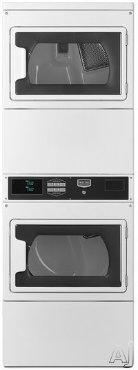 Maytag Commercial Laundry MLG26PRKWW 27 Inch Commercial Gas Stacked Dryers with Debit Card Compatibility, Computer Trac® Controls, Reversible Doors, Time Remaining Display, Large-Capacity Lint Filter and 7.4 Cu. Ft. Capacity
