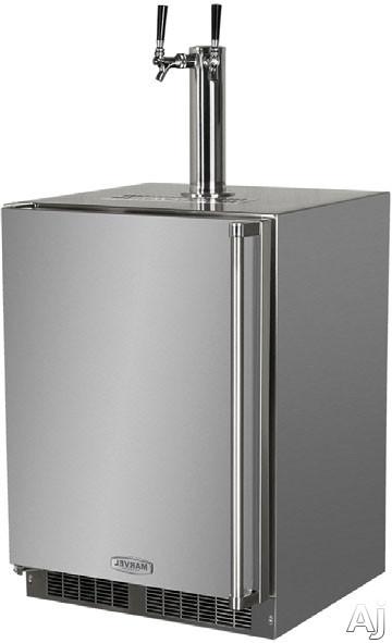 Marvel Outdoor Series MO24BTS2LS 24 Inch Built-in Beer Dispenser with 1 Half-Barrel Capacity, 2 Stow-on-Board Refrigerator-Convertible Shelves, 5 lb. CO2 Tank and Lo-Boy Coupler: Twin Tap, Left Hinge Door Swing