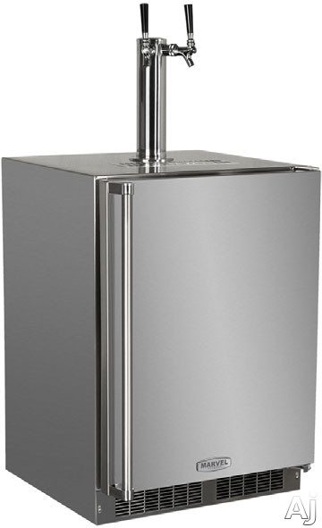 Marvel Outdoor Series MO24BTS2RS 24 Inch Built-in Beer Dispenser with 1 Half-Barrel Capacity, 2 Stow-on-Board Refrigerator-Convertible Shelves, 5 lb. CO2 Tank and Lo-Boy Coupler: Twin Tap, Right Hinge Door Swing