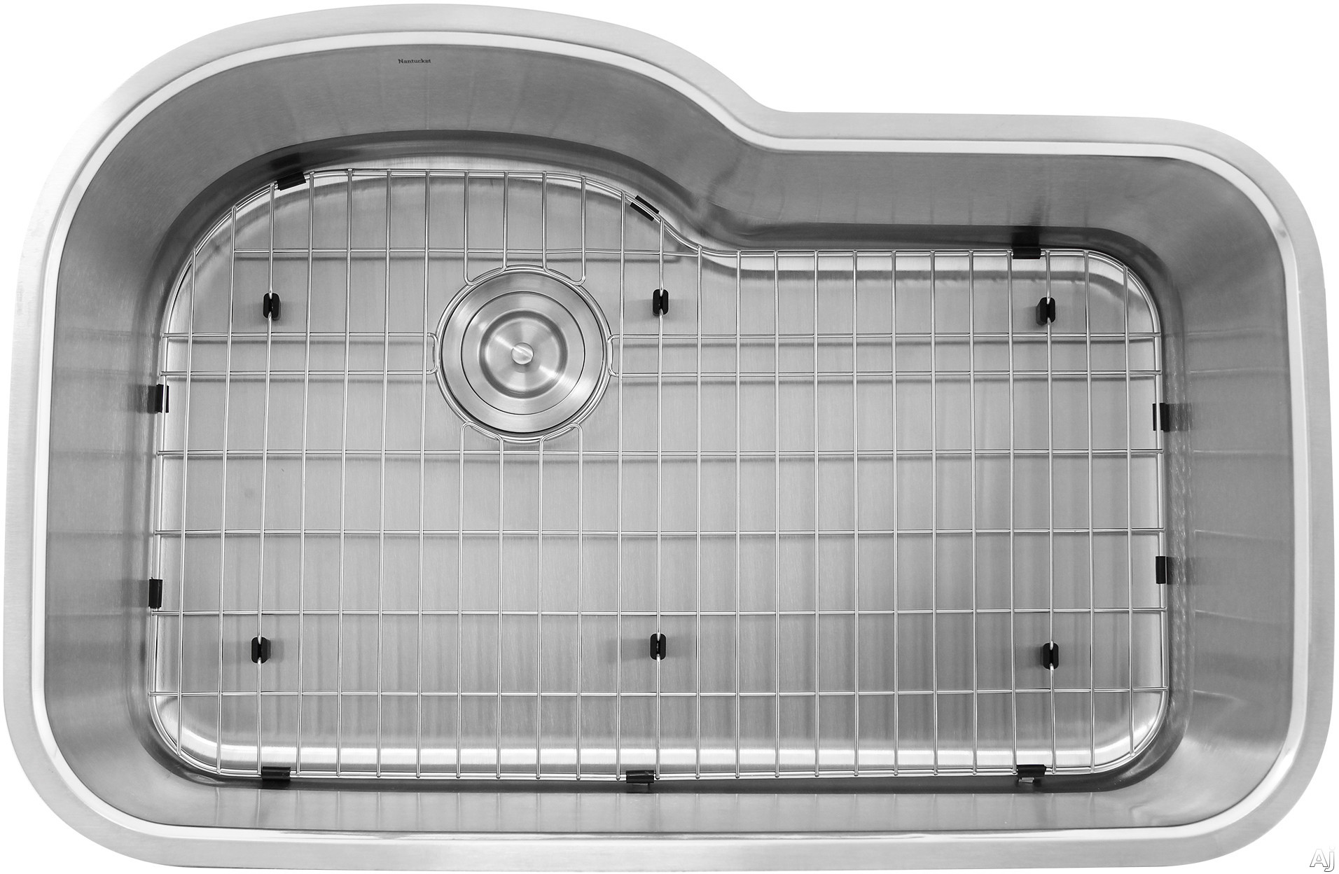 Nantucket Sinks Quidnet Collection MOBYXL18 31 Inch Oblong Undermount Stainless Steel Kitchen Sink with 18 Gauge Stainless Steel, 2 Bottom Grids and Drain