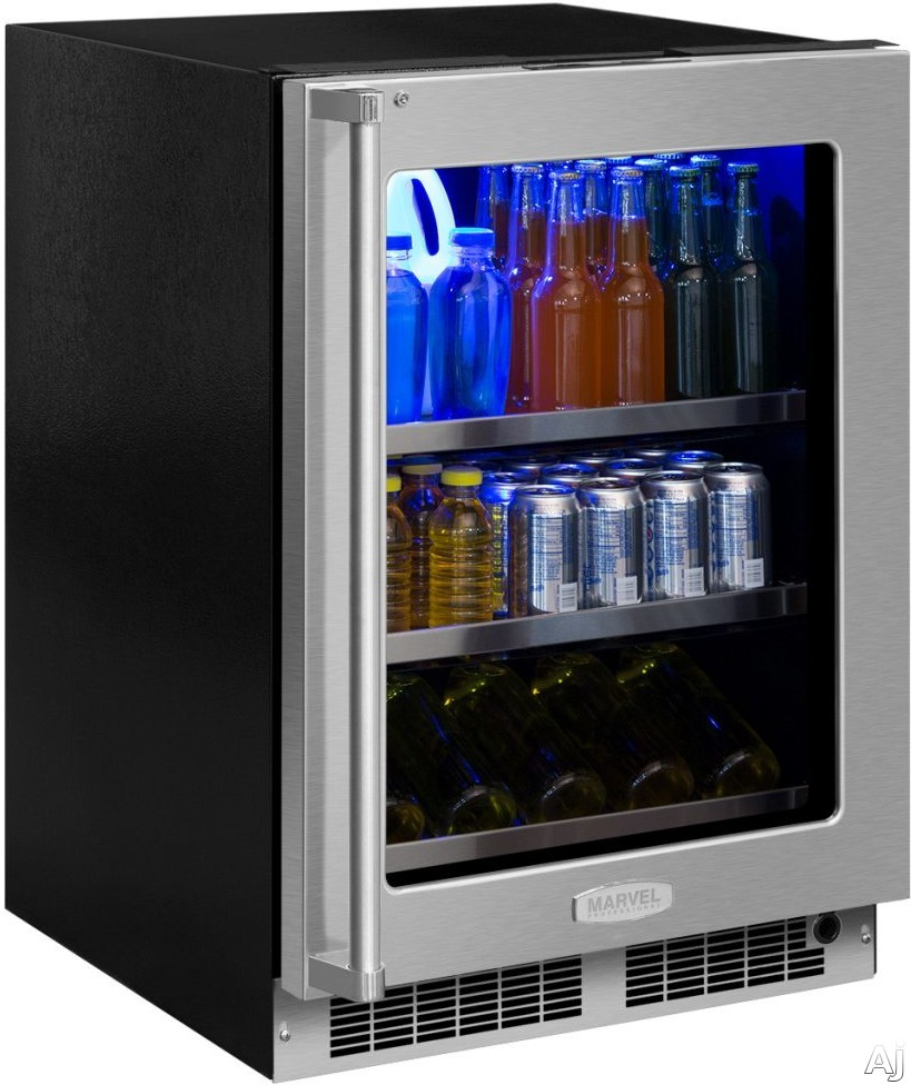 Marvel Professional Series MP24BCX 24 Inch Built-In Beverage Center with UV-Resistant Door, 3-in-1 Convertible Shelving, Tri-Color Lighting, Food Storage Capable, ENERGY STAR®, 19-Bottle Capacity and (108) 12-Oz Can Capacity