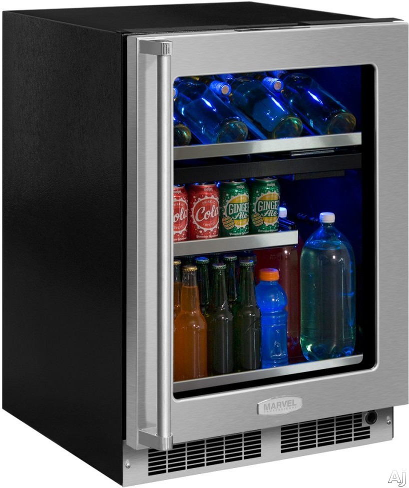 "Marvel Professional Series MP24WBF4LP 24 Inch Dual Zone Wine and Beverage Center with UV-Resistant Glass Door, Tri-Color Lighting, Vibration Neutralization Systemâ""¢, Close Door Assist Systemâ""¢, 64-Can Capacity and 40-Bottle Capacity: Panel-Ready Framed"