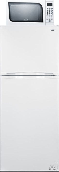 Summit MRF1075W 23 Inch Compact Top-Freezer Refrigerator with 9.8 cu. ft. Capacity, Microwave Oven, 2 Adjustable Glass Shelves, Produce Drawer, 3 Door Shelves, 2 Freezer Door Shelves, Freezer Shelf, Frost Free Defrost and Reversible Door Swings
